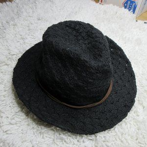 Prana black crochet panama hat